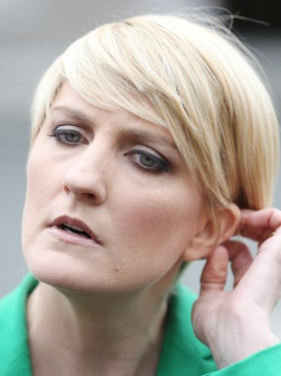 Averil Power outside Leinster House yesterday