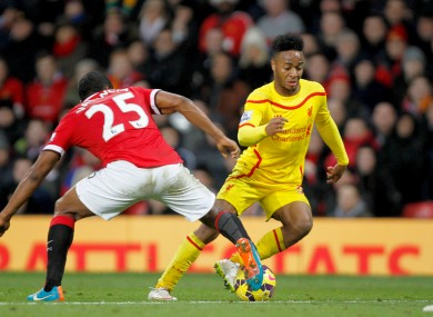 Raheem Sterling in action against Manchester United.