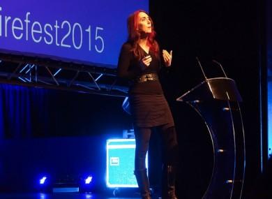 Brianna Wu speaking at InspireFest 2015 earlier this week.
