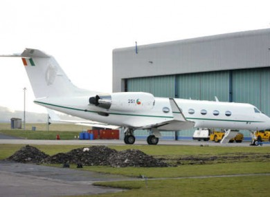 File Photo: A Government jet at the Defence Forces Air Corps base, the Casement Aerodrome in Baldonnel, Dublin.