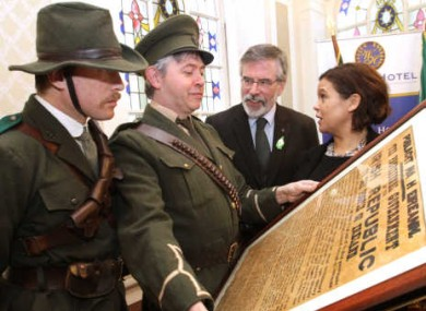 Gerry Adams and Mary Lou McDonald at the launch of Sinn Féin's programme of events for the 1916 commemorations.