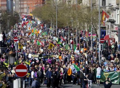 Thousands of protesters marching through Dublin City on April 18, 2015.