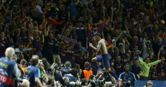 Suarez, Neymar strike to seal Barca's treble