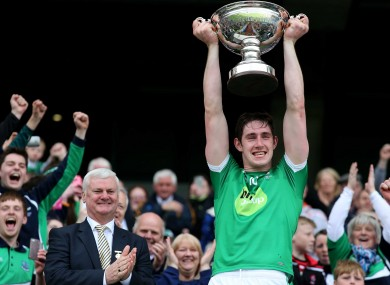 John Paul McGarry lifts the Lory Meagher Cup for Fermanagh.