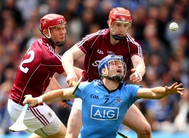 Galway's Joe Canning and Johnny Glynn challenge Dublin's Conal Keaney in last Sunday's drawn clash.