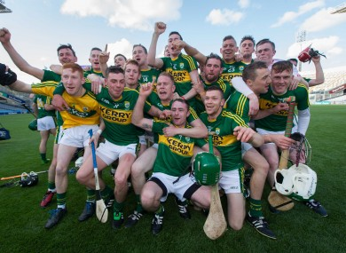 Kerry hurlers celebrate Christy Ring Cup glory.