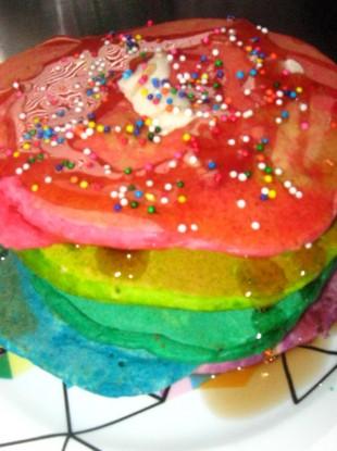 Rainbow pancakes.