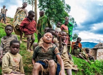 Children in Lake Bunyoni