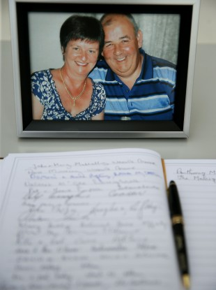 A book of condolence for husband and wife Laurence and Martina Hayes.