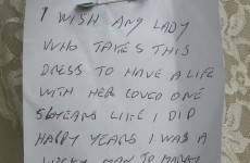 Hunt on for man who donated wife's wedding dress with love note attached