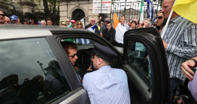 Senators abandon cars after protesters shut down street outside Leinster House