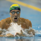 Brazil's Thiago Simon swims toward the gold medal in the men's 200m breaststroke, at the Pan Am Games in Toronto, Wednesday, July 15, 2015.<span class=