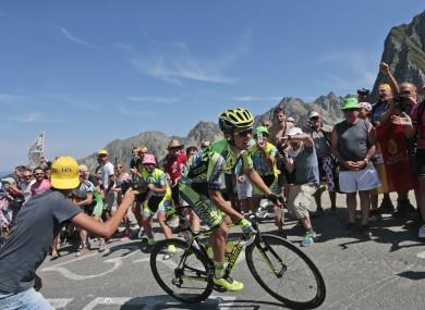 Stage winner Rafal Majka climbs the Col du Tourmalet.