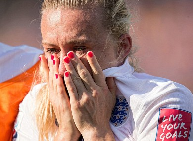 Laura Bassett reacts to England's Women's World Cup exit.
