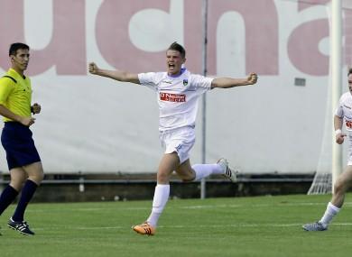 UCD's Ryan Swan celebrates scoring.