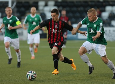 Crusaders' Paul Heatley on the ball during his side's Champions League qualifier against FC Levadia in Belfast last month.