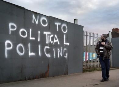 Graffiti painted on a fence Drimnagh Road, Dublin.