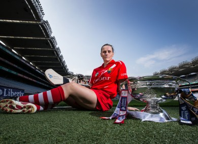 Cork goalkeeper Aoife Murray with the O'Duffy Cup before last year's All-Ireland final.