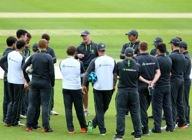 John Bracewell speaks to his players at training.