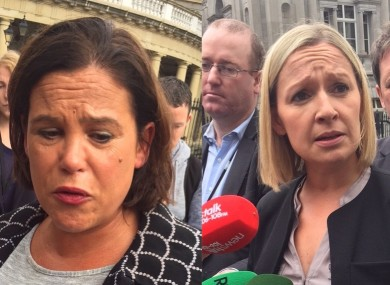 Mary Lou McDonald and Lucinda Creighton at Leinster House today.