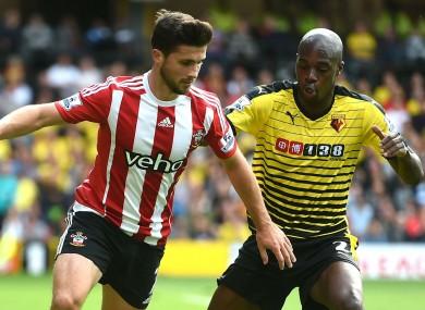Southampton striker Shane Long battles with Watford's Allan Nyom