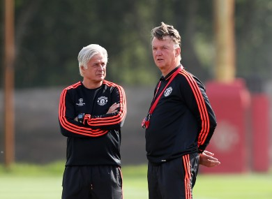 Manchester United's manager Louis van Gaal with chief opposition scout Marcel Bout yesterday.