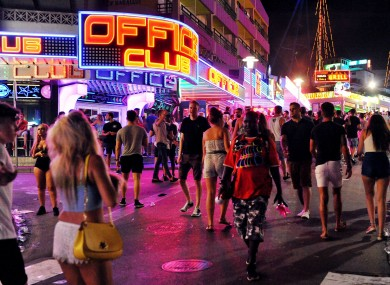 The main strip of Magaluf.