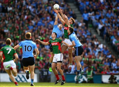 Dublin and Mayo rising to battle for possession.