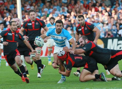 Argentina's Martin Landajo is tackled during the Rugby World Cup Pool C match between Argentina and Georgia.