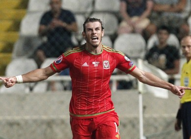Wales' Gareth Bale celebrates his goal against Cyprus during the Euro 2016 qualifying Group B match.