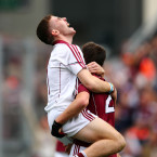 While Darragh Gilligan celebrates with his teammate Ciaran Connor.<span class=