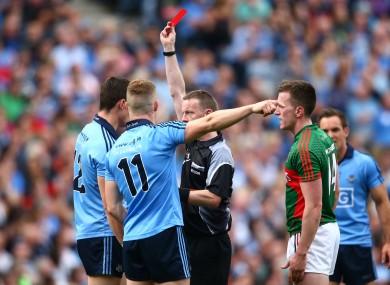 Referee Joe McQuillan sent off Connolly towards the end of a fiery semi-final.