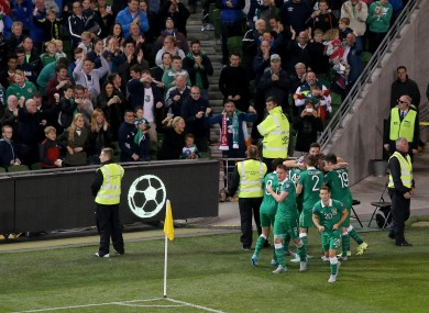 The Irish players celebrate Jon  Walters' goal last night.