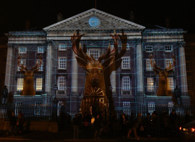 Trinity College in Dublin being illuminated by a light display at the end of last year