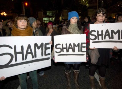 Protesters outside Leinster House following the death of Savita Halappanavar in 2012