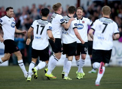 The Dundalk players congratulate goalscorer Finn.
