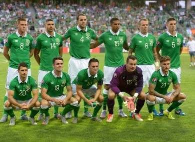 The Irish team line out for tonight's match.