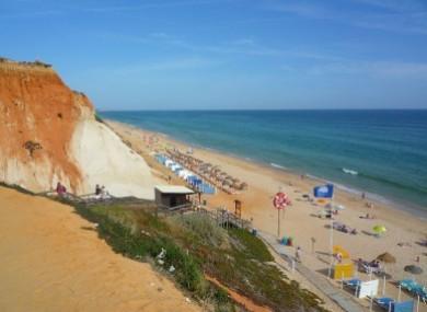 Praia da Falésia beach in Albufeira, Portugal (where the incident occurred).