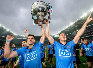 Bernard Brogan and Paul Flynn celebrate with the Sam Maguire last month.