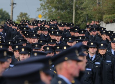 Gardaí at the State funeral of Garda Tony Golden in Blacktock, county Louth, last week.