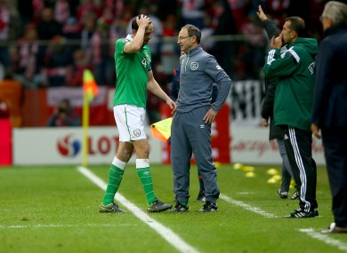 O'Shea was sent off in stoppage time, ruling him out of the first leg of the playoff.