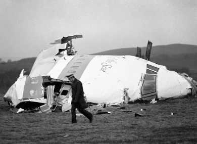 File 1988 photo of the wrecked nose section of the Pan-Am Boeing 747 in Lockerbie, near Dumfries.