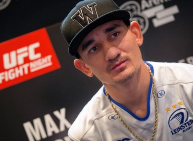 Max Holloway speaking to the press in Dublin.