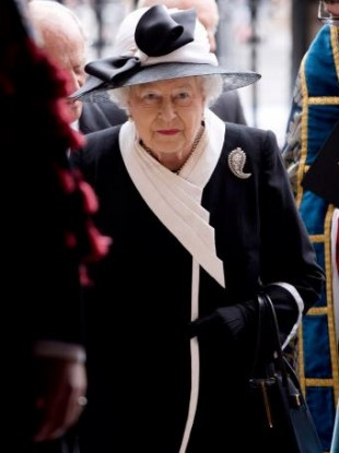 Queen Elizabeth arriving for the Service of Commemoration at Westminster Abbey, London to mark the centenary of the Gallipoli campaign and Anzac Day.