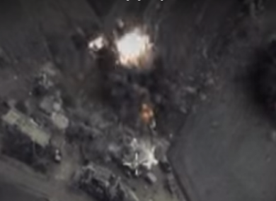 Footage of a Russian air strike posted by the country's defence ministry