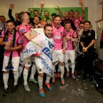 Wexford Youths celebrate their promotion to the Premier Division. <span class=