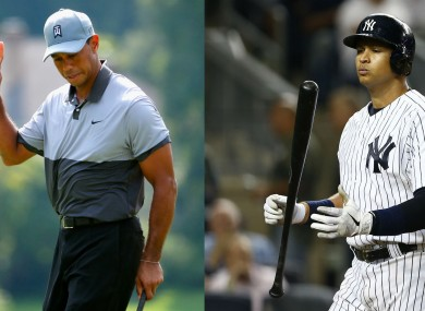 Tiger Woods and New York Yankees' Alex Rodriguez.