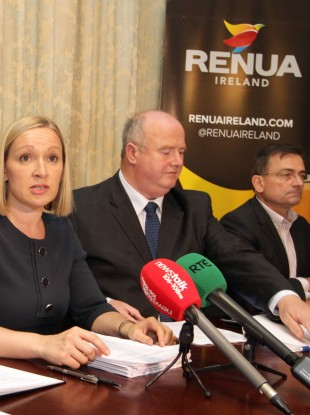 Renua leader Lucinda Creighton with deputy leader Billy TImmins and party president Eddie Hobbs