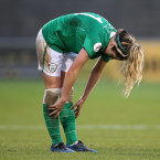 Down, not out: Julie Ann Russell following Ireland's defeat against Spain in the Euro 2017 qualifiers.<span class=
