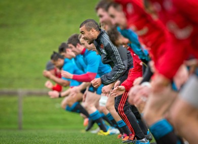 Simon Zebo, centre, is not in the Munster 23.